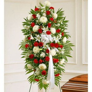 RED AND WHITE   LILY ROSES CARNATION STANDING SPRAY $150 &up